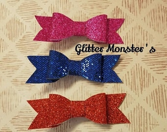 Red Glitter Bow Clip, Blue Glitter Bow Clip, Hot Pink Glitter Bow Clip, Baby/Girls Glitter Bow Clip, Glitter Bow Clip, Baby Glitter Clip