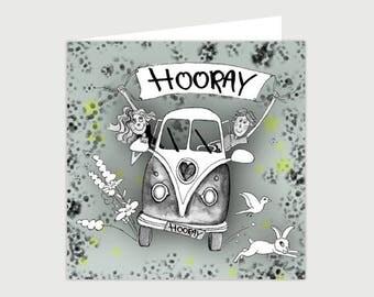 GREETING CARD ' HOORAY '-birthday-passed-anniversary