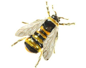 Bee Brooch, Realistic Bee Insect Bug Broach, Bumble Bee Jewelry Component, Yellow Black Gold Bee Broach, DIY Craft Supply Embellishment