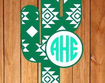Aztec cactus monogram, patterned monogram, monogram decal, cactus decal, cactus monogram, aztec monogram, aztec decal, sticker, car decal