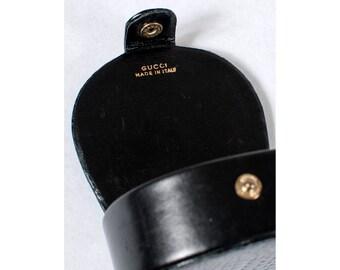 Vintage 1970s  - 1980s  black reptile leather GUCCI coin purse