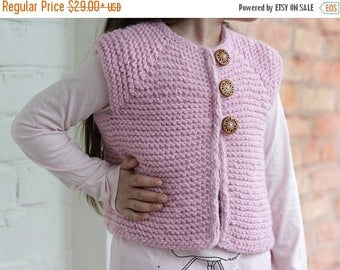 SALE Pink Vest Hand Knit, Baby girl pink vest knitted, baby vest, clothes for baby, Wool Vest for Baby 6-24 month 2-4 years baby, gift for b