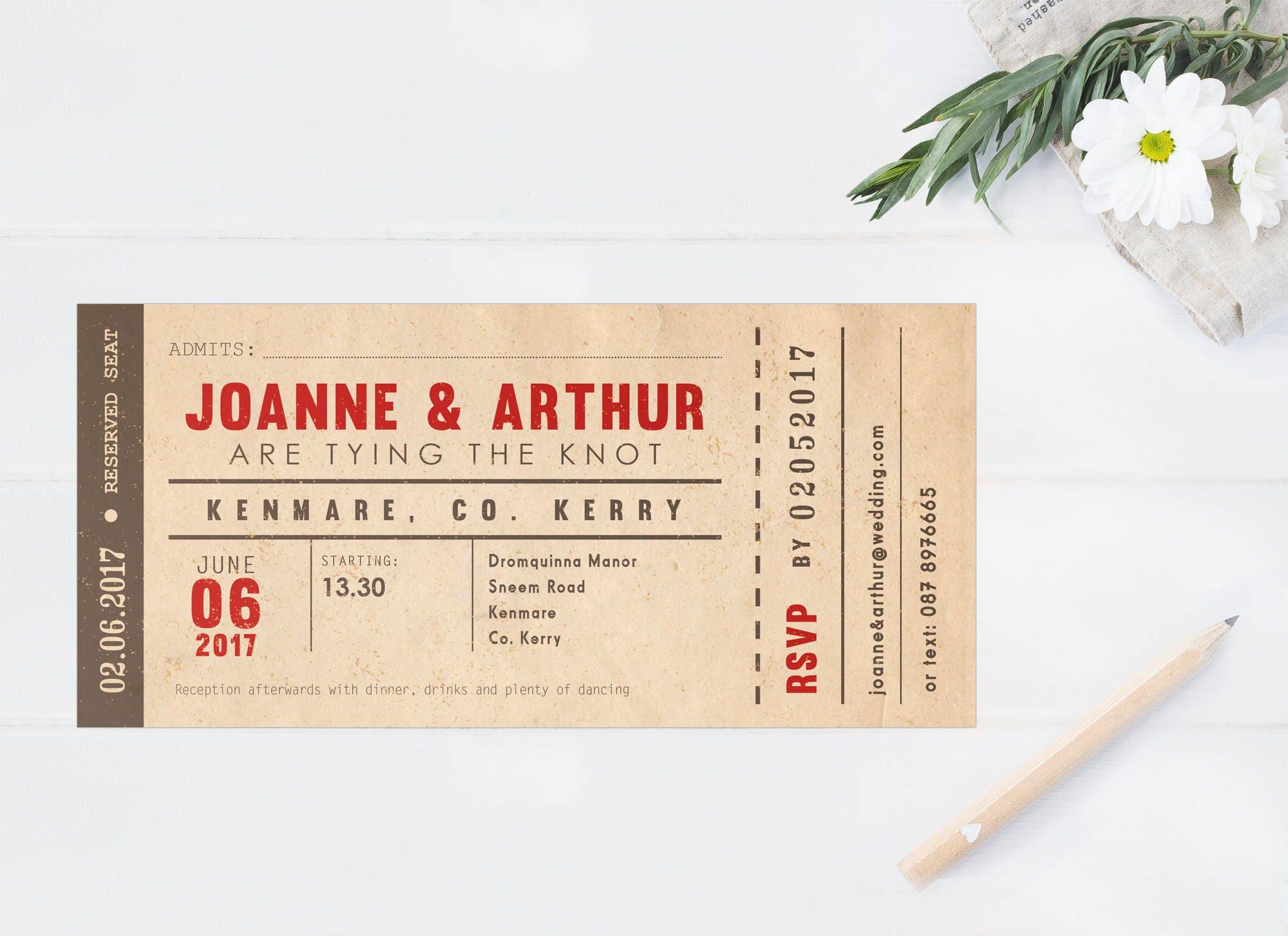 Vintage concert ticket wedding invitations retro ticket description a fun retro style wedding invitation monicamarmolfo Image collections