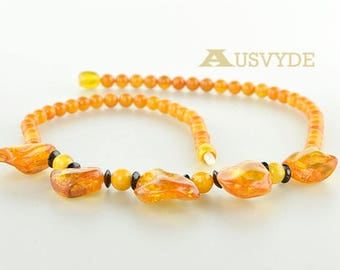 Amber necklace, Baltic amber, Butterscotch color, Kolje necklace, 2958