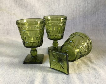 Vintage Indiana Colony Park Lane Green Water Goblets, Set of 3