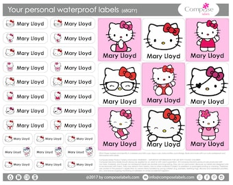 Hello Kitty - Your personal waterproof labels (68 Qty) Free Shipping