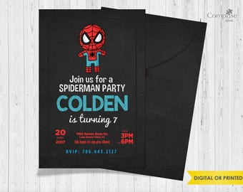 Spiderman - Invite your guests with personalized party invitations - Digital or Printed - Birthday Invitation - Boy Birthday Party