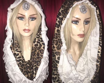 Reversible Leopard & Distressed Hood / Infinity Scarf - Burning Man / Festival