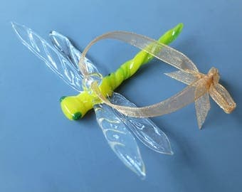 Glass Dragonfly Figurine, Hand Made Glass Animal, Christmas Tree Ornament