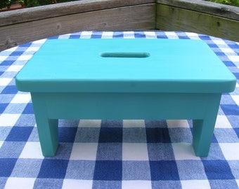 Wooden Stool, Stepstool, Bench - Teal - Bedroom, Bathroom, Kitchen, Decorative Bench