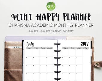 Mini Happy Planner - Academic Monthly Printable Insert - July 2017 - July 2018 (Sunday - Saturday) [Charisma]