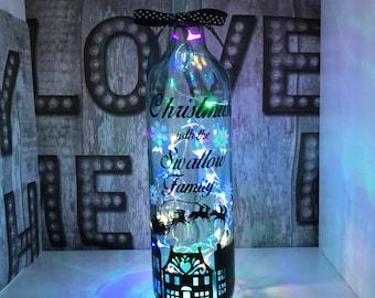 Family Christmas light bottle, christmas decor,