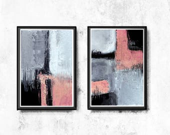 Abstract Art Print, Printable Art, Minimalist Print, Scandinavian Art, Wall Decor, Wall Art, Instant Download, black, pink and grey