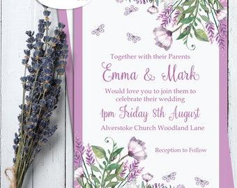 Wedding Stationery, Wedding invitations, Wedding Invitation set, Lilac wedding invitations, Lilac, Floral, butterflies, PRINTED INVITATIONS