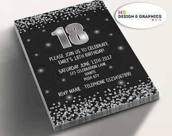 18th birthday invitation, black and silver invitation, 18th birthday invitation, birthday invitations, sparkly invitation, party supplies