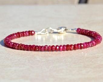 Ruby Bracelet, July Birthstone Bracelet, Beaded Bracelet, Natural Ruby Gemstone Bracelet, Silver Charm, Gift for Her, Stacking Bracelet