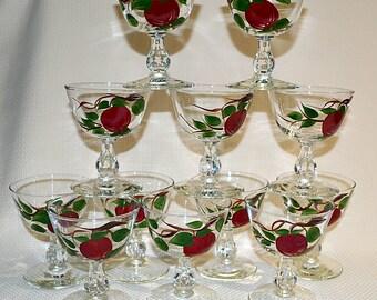 Franciscan Apple Sherbet Glasses, Franciscan Apple Champagne glasses,  Franciscan Apple Glasses by Libbey