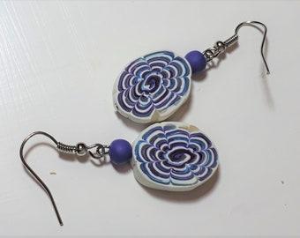 Handmade Polymer Clay Earrings- Blue, Purple, White- Funky Swirls