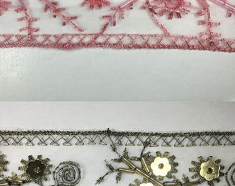 Embroidered Organza Trim with Sequins & Beads - 14 Continuous Yards