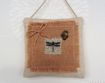 Mini door pillow - home decor cotton and jute industrial style - mini Dragonfly cushion