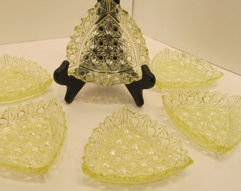 J. H. Hobbs, Brockunier and Company Canary (vaseline)  Daisy and Button berry dishes (set of 6)