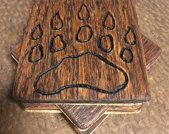 Rustic Wood Burned Magnetic Coasters (Set of 4)
