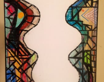 original figurative stained glass painting white-vacant nothing there