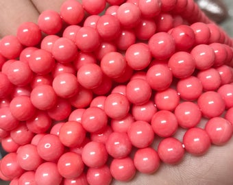 4mm coral, pink coral beads, natural coral, real coral, genuine coral, boho beads, glossy beads,