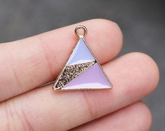 set of 5, triangle charms, gold charms, pink charms, metal charms, 20mm x 18mm, geometric charms,  color contrast charms, modern charms,