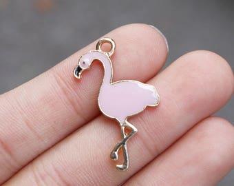 set of 5, flamingo charm, pink charms, metal charms, enamel charms, 28mm x 18mm, pink flamingo, animal charms,