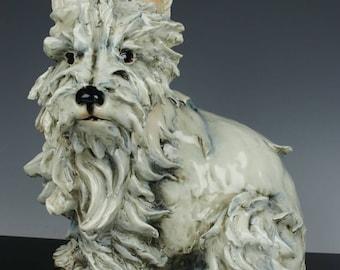 """Large Capodimonte Guido Cacciapuoti Figurine Dog """"Scottie"""""""