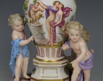 """Meissen Figurine 1649 """"Vase with Tree Cherubs"""""""