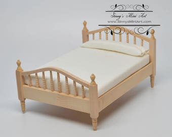 1:12 Dollhouse Miniature Unpainted Double Bed with Mattress/ AZ CL08690