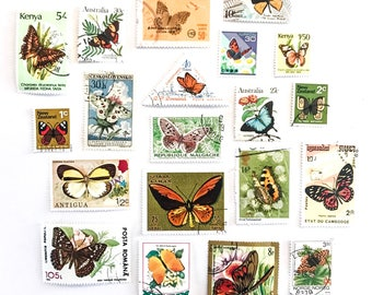 20 x Butterfly postage stamps - from 16 countries, used, off paper, all different - Butterflies - for collage, stamp collecting, mail art
