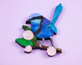 Philbert 'Phil' the Fairy Wren - Australian Native Bird Acrylic Brooch
