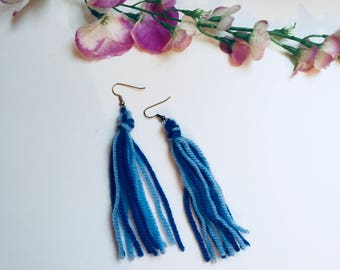Blue tassel earrings