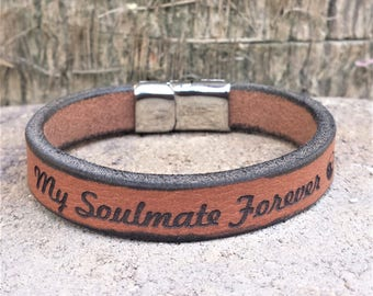 FREE SHIPPING-Message Leather Bracelet, Bracelet For Men,Custom Men Bracelet,Personalize Leather Bracelet,Engraved Leather Wristband For Dad