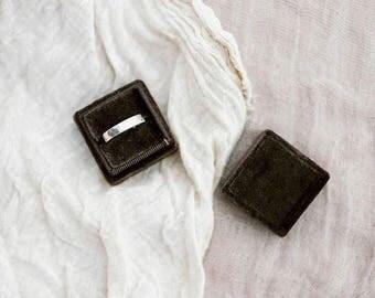 Ring Box - Velvet Ring Box - Vintage Style - Proposal Ring Box - Engagement ring box - Wedding - Personalized Gift - Chocolate
