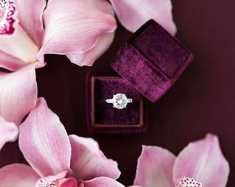 Ring Box - Velvet Ring Box - Vintage Style - Proposal Ring Box - Engagement ring box - Wedding - Personalized Gift - Plum
