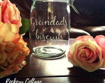 Personalised jar, custom engraved jar, sweet jar, biscuit barrel, cookie jar, treat jar, memory jar, hand engraved glass jar, cookie storage