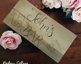 Wooden bar sign, wood burned banner, wooden sign, wood plaque, pyrography, custom bar, wood plank, rustic wood bar, personalised, customised