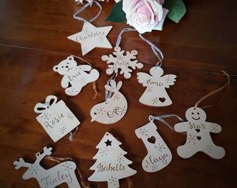 Personalised christmas decorations, christmas shapes, customised christmas bauble, reindeer decoration, christmas tree, custom christmas