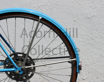 Antique Bicycle Photograph, Blue Schwinn Suburban Bike, Modern Wall Art Prints, Vintage Bicycle Pictures, Bike Wall Art, Bike Tire Image