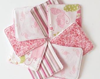 Lot de 8 lingettes demaquillantes / debarbouillantes lavables (papillons, flamants roses, fleurs, et rayures)