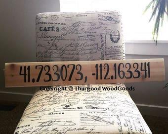 "5 1/2""x36"" Hand Painted Latitude-Longitude Wooden Sign"