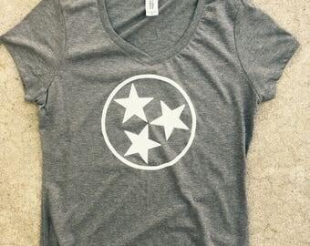 Tennessee tri star women's v neck, tri blend, gray, medium, blend,**free shipping**