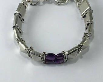 Handmade Genuine Purple Amethyst Gemstone bracelet Genuine Amethyst jewelry February Birthstone jewelry Pisces jewelry Men's Stud bracelet