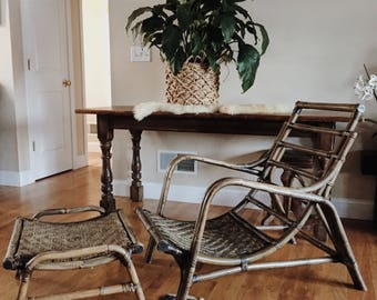 Rattan Scoop Chair And Ottoman, Rattan Woven Chair And Ottoman, Bamboo Chair,  Vintage