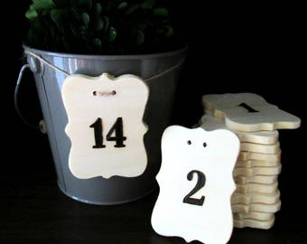 Wedding Table Number Labels -  Hanging Table Numbers -  Wooden Table Numbers - Table Numbers for Wedding - Cut Out Table Numbers