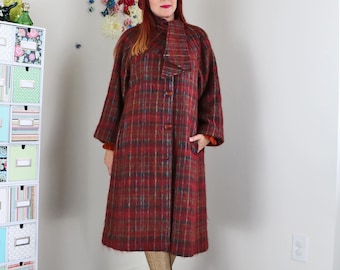 1950s Coat - Long Swing Coat - Plaid - Tie Neck - Mohair Wool - Winter Coat - Classic Vintage Coat - Pockets - Burgundy - Size Small Medium